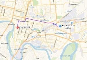 маршрут эвакуатора в краснодаре: Ул. Гоголя 32 - ул. Глинки 40 (4 км), буксир 24