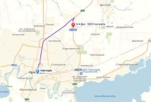 маршрут эвакуатора в краснодаре: М-4 Дон - г. Краснодар, буксир 24