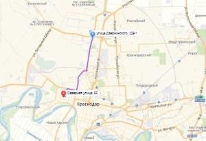 маршрут эвакуатора в краснодаре: Ул. Северная 92 - ул. Дзержинского 229, буксир 24