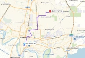 маршрут эвакуатора в краснодаре: Ул. Дорожная - ул. Мира 50, буксир 24