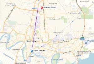 маршрут эвакуатора в краснодаре: Ул. Суворова 3 - ул. Янтарная 2, буксир 24