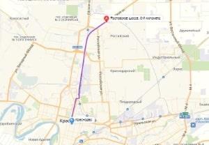 маршрут эвакуатора в краснодаре: Ростовское шоссе - г. Краснодар, буксир 24
